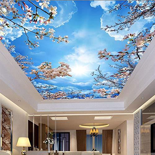 3D Romántico Cielo azul Nubes blancas Flores de cerezo Papel tapiz fotográfico Mural de techo Sala de estar Tema Hotel Decoración pastoral Papel tapiz-300x210cm