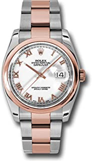 Rolex Oyster Perpetual Datejust 36mm Stainless Steel Case, 18K Pink Gold Domed Bezel, White Dial, Roman Numeral, and Stainless Steel and 18K Pink Ggold Oyster Bracelet.