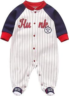 Pyjama Bébé Combinaisons Garçons Grenouillères en Coton Bodys à Manches Longues 0-12 Mois