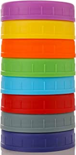 WIDE Mouth Mason Jar Lids [8 Pack] for Ball, Kerr and More - Food Grade Colored Plastic Storage Caps for Mason/Canning Jar...