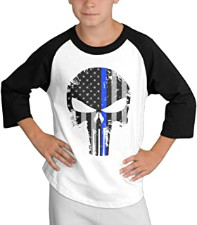 Thin Blue Line Skull Child Youth 3/4 Baseball Tshirt Small
