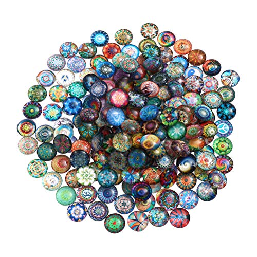 SUPVOX Mosaico de cristal semicircular con cúpula impresa, piedras de mosaico de cristal para manualidades, joyas, decoración del hogar, 12 mm, 100 unidades