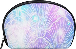 Small Shell Cosmetic Beauty Bag Mermaid Galaxy Print Half Moon Travel Handy Organizer Clutch Pouch