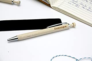 Penna personalizzata inciso con vostro testo, regalo personalizzato, penna di legno, inchiostro blu
