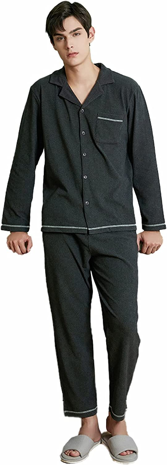 WIITON Pajama Set Men Polyester Solid Color Fleece Large Size Long Sleeve Trousers Hotel Homewear