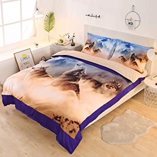 ENJOHOS Wolf Bedding Set Full 3D Cool Wolves Duvet Cover with Zipper Closure 3 Pieces Comforter Cover (1 Duvet Cover +2 Pillow Cases) Super Soft and Comfortable for Sleep