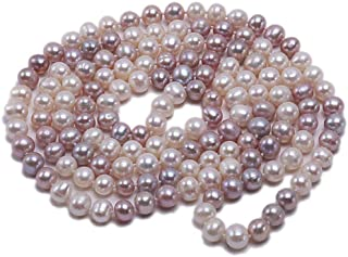 """JYX AA + Pearl Long Necklace Classical 8-9mm Multi Color Natural Freshwater Cultured Pearl Sweater Necklace 47"""""""