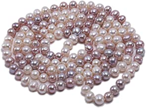 JYX AA + Pearl Long Necklace Classical 8-9mm Multi Color Natural Freshwater Cultured Pearl Sweater Necklace 47