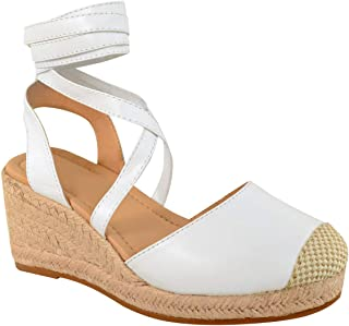 Fashion Thirsty Womens Ladies Espadrille Tie Up Closed Toe Low Mid Wedge Wraparound Summer Shoe by Heelberry