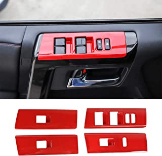 JeCar Window Lift Button Frame Stickers Cover Trim Car Door Window Glasses Lifter Button Decoration Accessories Set of 8Pcs for Toyota 4Runner 2010-2019 Red