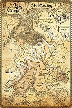 Best Print Store - Kingkiller Chronicles - The Four Corners of Civilization Map Poster  11x17 inches