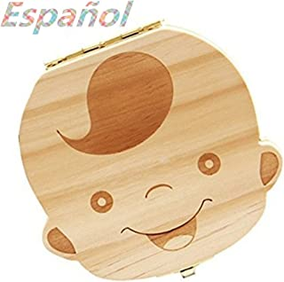 Atommy 1 Pcs Madera de Caja Almacenamiento de Dientes Leches Caja de Recién Nacidos Recuerdo para Bebés Regalos Español (Niño)