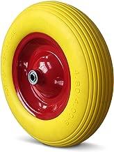 Deuba PU Schubkarrenrad pannensicher Vollgummi 4.80/4.00-8 Ø 390mm 200 kg inkl. Achse Ersatzrad Reifen