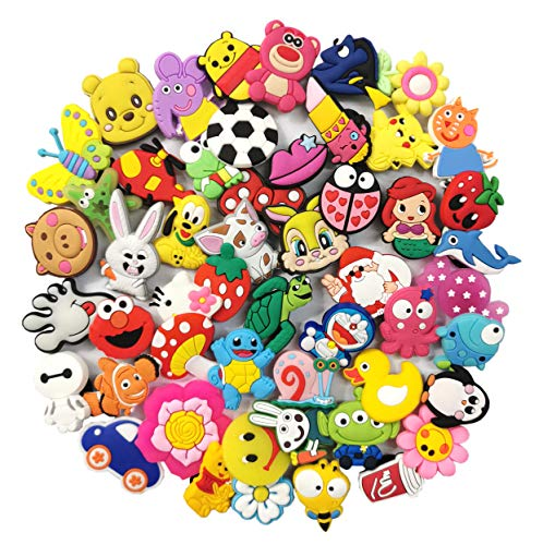 50pcs Different Lovely PVC Shoe Charms for shoe Decoration And Bands Bracelet with holes Party Gifts