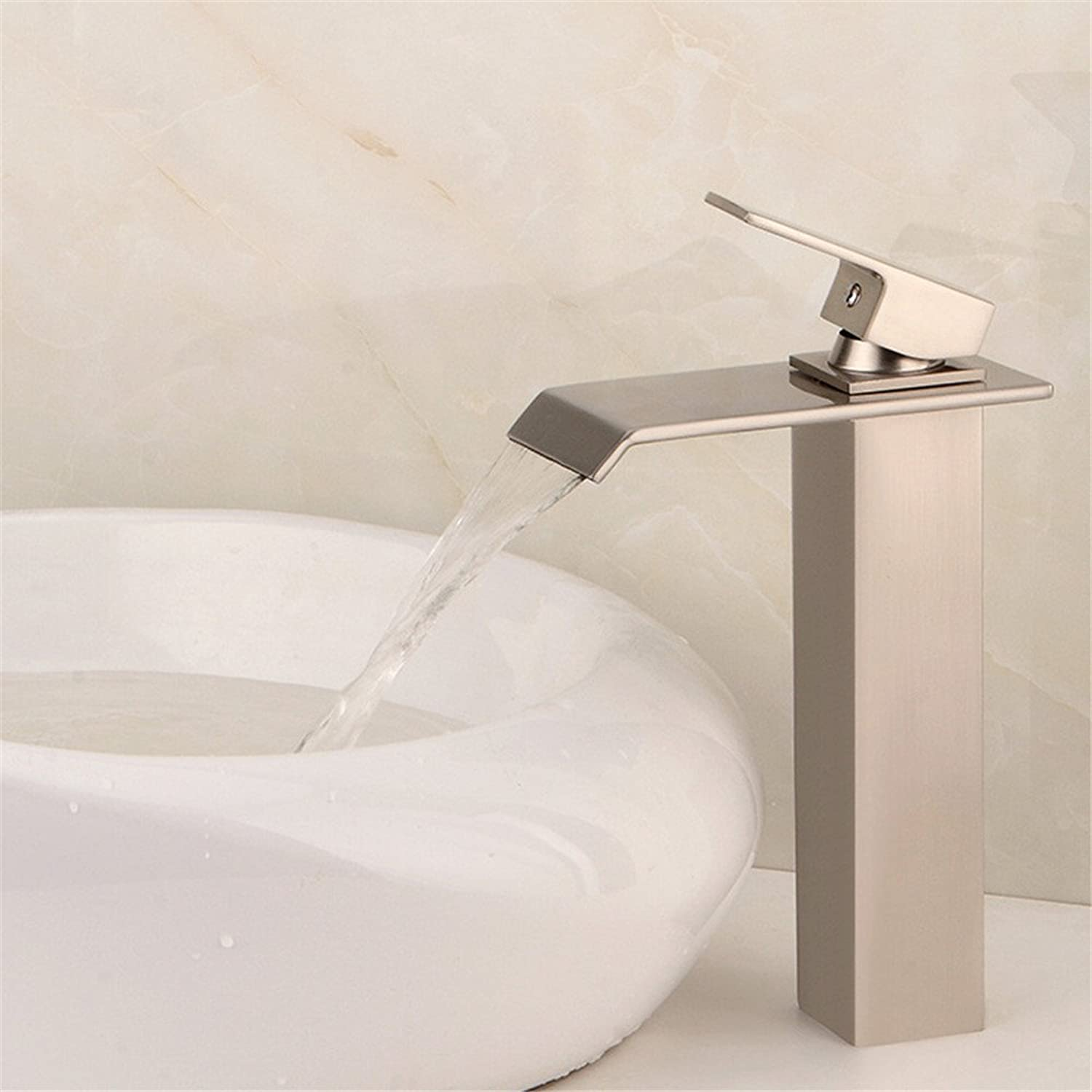 MIAORUI The bathroom counter basin of mixed water brass wire drawing single type washbasin tap water faucet waterfall sanitary ware