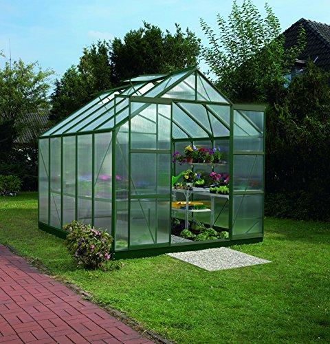 Gartenwelt Riegelsberger Gewächshaus Uranus - Ausführung: 8300 HKP 6 mm dunkelgrün, Fläche: ca. 8,3 m², mit 4 Dachfenster, Sockel: 2,54 x 3,17 m