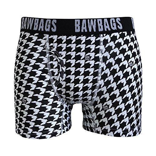 Bawbags Houndstooth Boxer Shorts - Black Medium