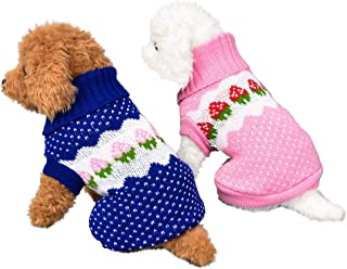 Gooldu Dog Sweater Crochet Knitted Winter Warm Turtleneck Strawberry Sweater Costume Apparel for Puppy Cat