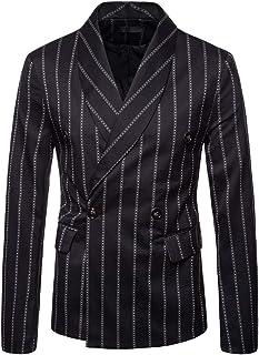 MISSMAO Men's Cotton Blend Striped Formal Boating Blazer Jacket