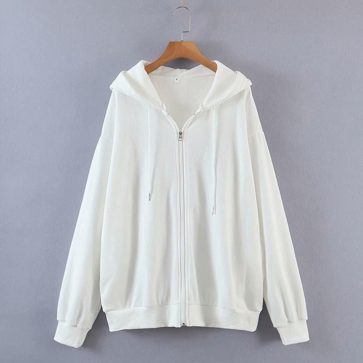 Meladyan Women Oversized Solid Zip Up Hoodie Drawstring Hooded Long Sleeve Fleece Vintage Sweatshirts Jackets Pockets 90s