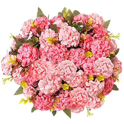 Flores Artificiales,Flores de Hortensia Artificiales, 4 Piezas Ramos de crisantemo de Seda pequeña Flores para la decoración de la Oficina del jardín del hogar, arreglos Florales (Rosa)