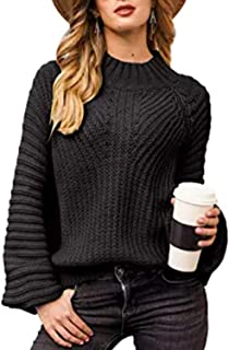 Chunky Crewneck Sweaters Long Sleeve Oversized Cable Knit...