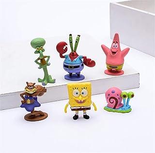 DEVON Muñeca de la película, Bob Esponja Linda versión Q Modelado Juguete Modelo decoración Regalo de cumpleaños Set de 6