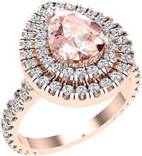 Pear Cut Pink Morganite Double Halo Engagement Ring 14K Gold (G, SI)