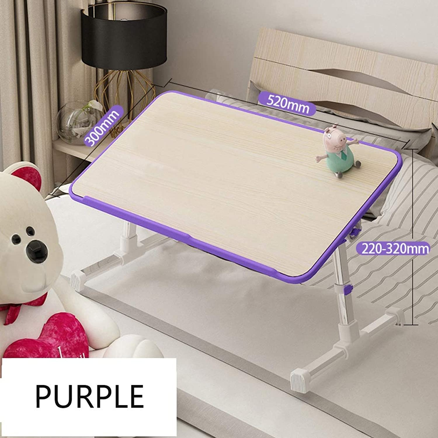 Folding Table Creative Multi-Function Bed Small Folding Table Computer Notebook Study Desk-Home Bedroom College Dormitory Dormitory (color   Purple, Size   520x300x200-320mm)