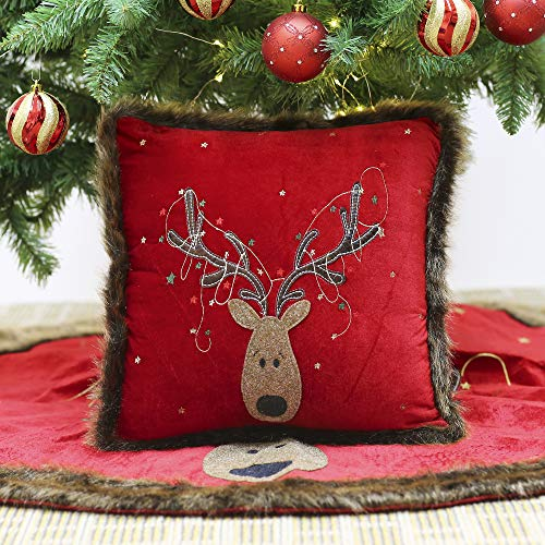 Reindeer Christmas Decorative Pillow Cover with Faux Fur