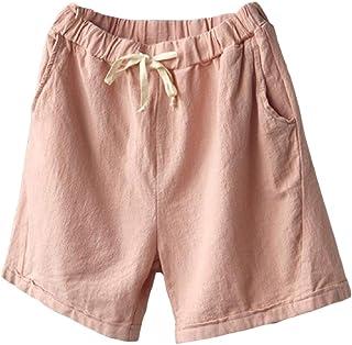 Womens Summer Beach Wide Leg Palazzo Solid Shorts Drawstring Cotton Linen Shorts Pants