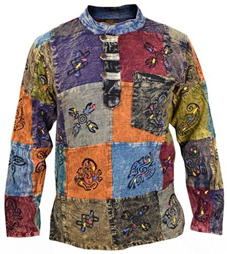 Little Kathmandu Camisa para hombre, tipo patchwork, estilo hippie, con símbolos estampados multicolor Stonewashed Large