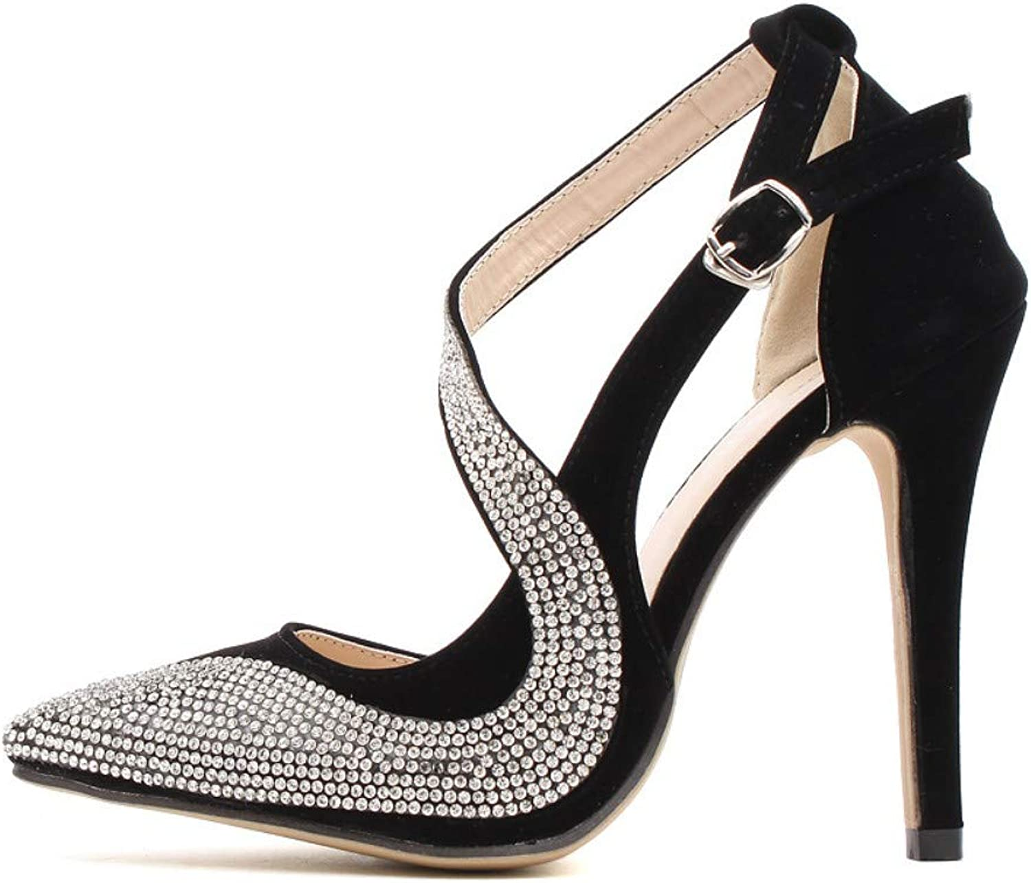 JQfashion Women's High-Heeled shoes with Diamond Tip and Fine-Heeled shoes in Spring and Summer