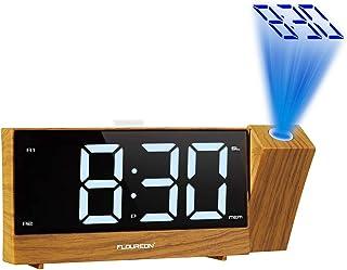 FLOUREON 投影時計 置き時計 目覚まし時計 デジタル時計 デジタル時計 投影目覚まし時計 デュアル目覚まし時計 デジタルラジオ 2つのUSB充電ポート