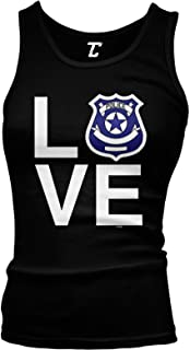 Love Police Badge - Officer Law Enforcement Juniors Tank Top