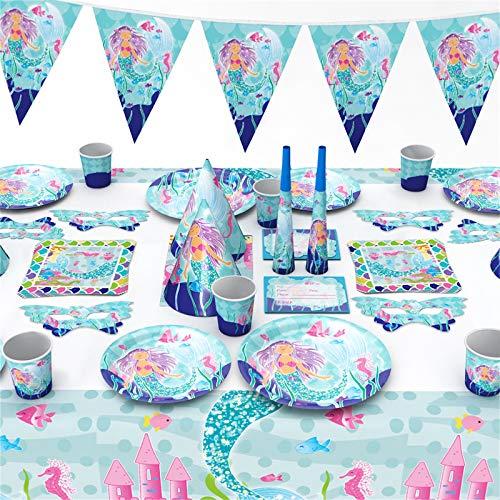 Tonsooze 96 Stück Meerjungfrau Party Geschirr Set - Gebutstag Party Set magische Meerjungfrau Geburtstag Geschirr Kit Abendessen Teller für Geburtstagsfeier, Hochzeiten, Jubiläen, 6 Gäste