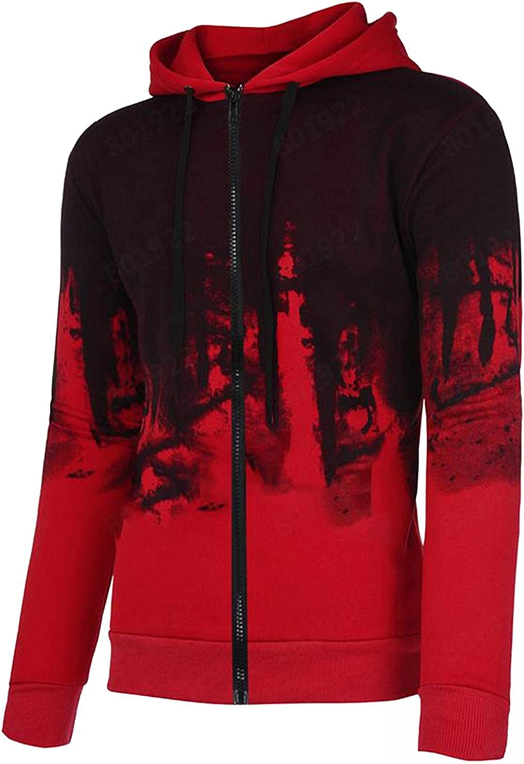 Qsctys Mens Sweatshirts Hoodies Zip up Casual Hooded Jackets & Coats Cotton Blend Fashion Graphic Lightweight Pullover Zipper