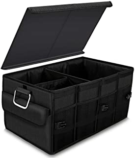 DKIIGAME Trunk Organizer for car,Durable Storage Organizer for SUV Truck Auto Van,Collapsible Trunk Cargo Storage Organizer with Cover and Straps (Black)