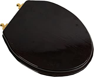 Bath Décor 5F1E2-18BR Elongated Toilet Seat in Traditional Design with Polished Brass Metal Hinges, Dark Brown Stained Finish
