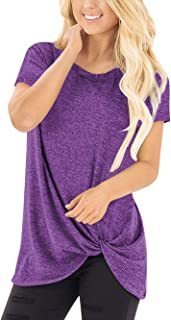 SEBOWEL Women's Twist Knot Casual Crewneck Short Sleeve T Shirts Tees Tunic Top