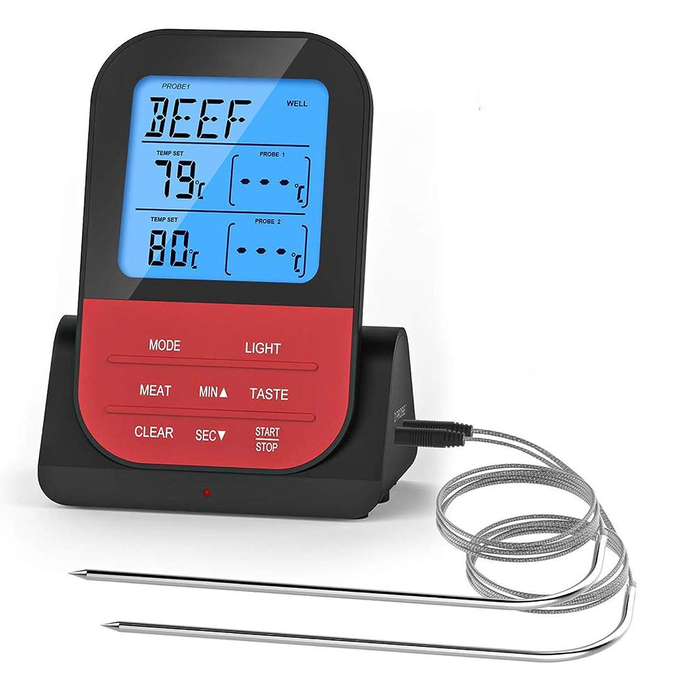 安心させる死役割喫煙グリルオーブンプリセット温度遠いコントロールインスタント読む温度計のために肉温度計、双対プローブを調理ワイヤレスリモートキッチンは、アウェイ260フィートから食品を監視します