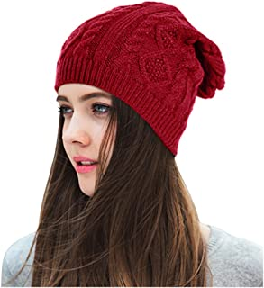 Lamdgbway Chunky Knit Beanie Stretch Unisex Braided Cable Slouchy Winter Hats Skip Cap