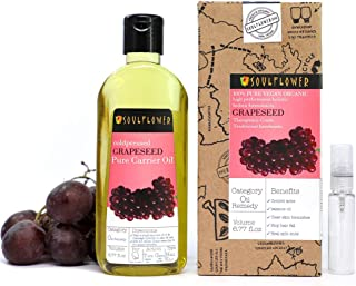 Grapeseed Oil by Soulflower, Pure and Undiluted, Organic and Cold pressed, Natural and Vegan, Ultra Light and Soothes Skin...