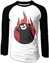 Men's Kumamon Fire Up Emoji Men's Long Sleeves Baseball Raglan Shirt