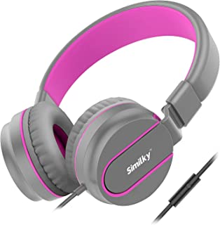 Kids Headphones for School Children- SIMILKY Stereo Tangle-Free 3.5mm Jack Wired Cord On-Ear Headset for Children 8-15 Years Old (Pink/Grey)
