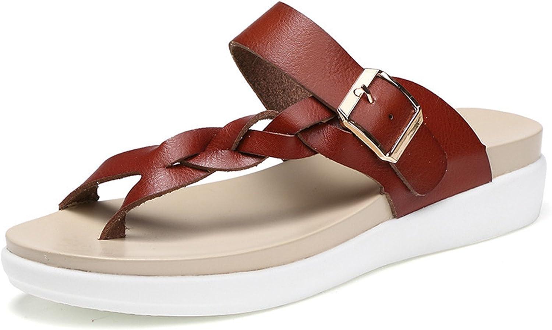 Hogonta Genuine Leather Plus Size Women's Flat Beach Slippers Fashion Women Ourdoor Flip Flops Woman Summer Sandals shoes
