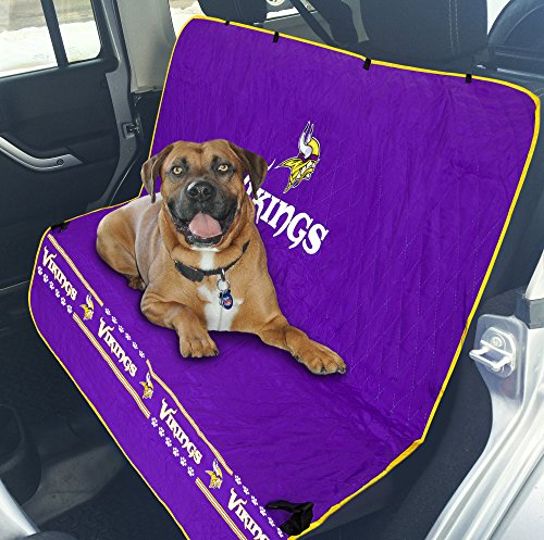 NFL CAR SEAT COVER - MINNESOTA VIKINGS Waterproof, Non-slip BEST Football LICENSED PET SEAT cover for DOGS & CATS.