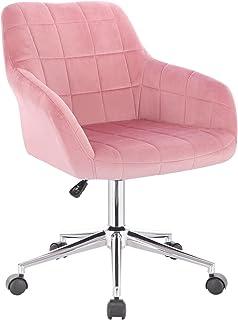 WOLTU 1 X Chaise de Bureau à roulettes,Tabouret de Bureau Tabouret roulettes pivotant et réglable en Velours, Rose BS79rs