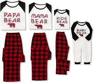 Christmas Family Pajamas Matching Sets,Bear Classic Plaid 100% Cotton Xmas Clothes Soft Outfit Sleepwear