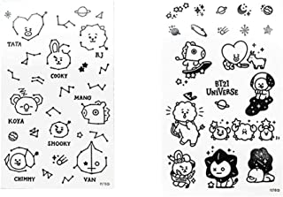Youyouchard 2 Sheets Kpop BTS Temporary Tattoos Stickers CHIMMY Cooky TATA RJ SHOOKY MANG KOYA DIY Stickers for BTS Army( BTS-2)